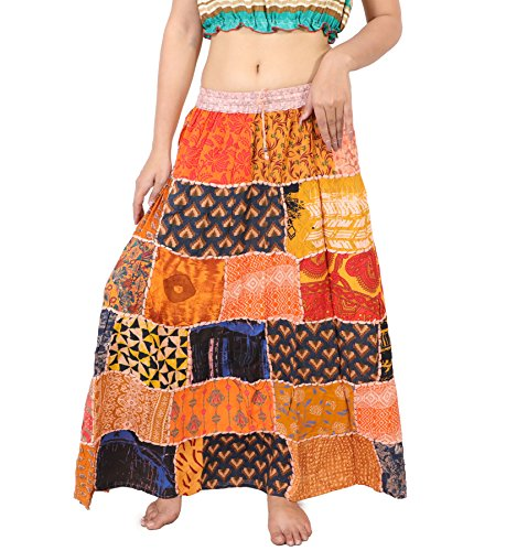 Wevez Pack of 3 Hippie Tiered Maxi Long Vintage Patch Skirts ()