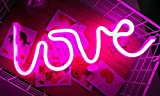 Romantic Love Letters Pink LED Night Light Lamp for Bedroom Party Holiday Decor Neon Light Wall Decor Art Home Decoration