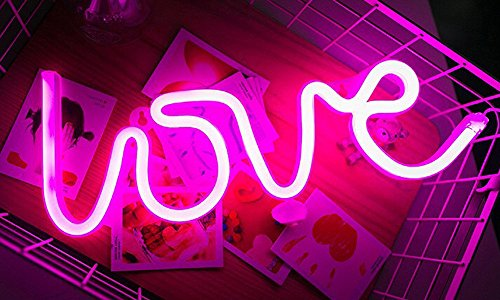Romantic Love Letters Pink LED Night Light Lamp for Bedroom Party Holiday Decor Neon Light Wall Decor Art Home Decoration by Alrens