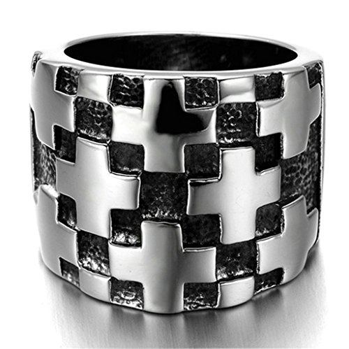 Alimab Stainless Steel Finger Rings Black Silver Cross Ring for Men 22mm US Size 11 (Big Bad Wolf Makeup)