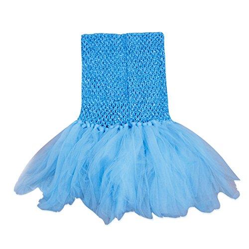 [Zebra Lovely Girl Baby Little Mermaid Dress Tulle Tutu Skirt Photo Prop Costume Outfit (Sky Blue)] (Little Mermaid Tutu Dress)