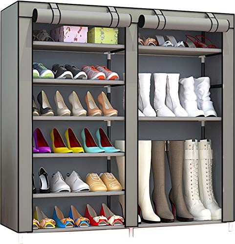 PENGKE Shoe Rack Storage Organizer, Portable Boot Rack, 27-Pair Double Row, Shoe Cabinet Tower with Non-Woven Fabric Cover, Silver