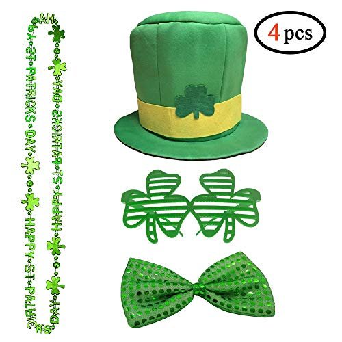 Volcanics St. Patrick's Day Leprechaun Costume 4 Piece Set Party Accessories - Includes St. Patty's Day Leprechaun Hat, Shamrock Bead Necklaces, Bow Tie and Shamrock Shaped ()
