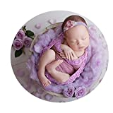 Newborn Baby Photo Props Lace Wrap Cloth Blanket for Boys Girls Photography Shoot (Purple)