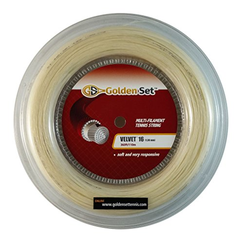 Natural 360' String Reel - Golden Set Velvet 16 (1.30mm), Reel (360ft/110m), Natural, Multi-Filament Tennis String