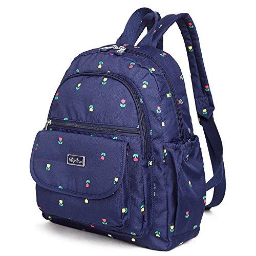 Bolso de la momia del hombro, bolso multi-funcional de la madre de la manera, bebé impermeable portable fuera del bolso ( Color : Morado oscuro ) Blue flower