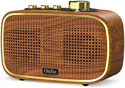 Olafus Retro Bluetooth Speaker, 20W Wireless Vintage Wood Speakers, Powerful HD Sound Rechargeable Speaker, 20H Playtime, Bluetooth V5.0, IPX5 Waterproof, Built-in Micro, AUX Wired Speaker for Bedroom