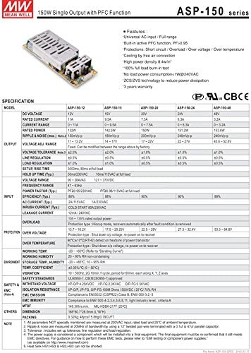 Industrial Open Frame 151.2W 24V 6.3A ASP-150-24 Meanwell AC-DC MEAN WELL Single Output SMPS ASP-150 Series