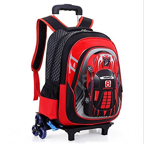 Amazon.com: HCC& 3D Car Rolling Backpack, Multifunction School Backpack With Wheels, Waterproof 6 Wheels Kids Trolley Schoolbag,Blue: Sports & Outdoors