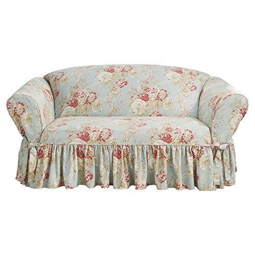 Sure Fit Ballad Bouquet by Waverly Slipcover (Robin's Egg, Box Cushion Loveseat) ()