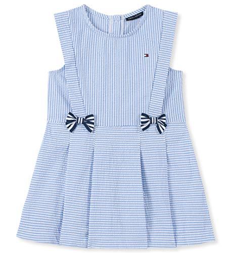 Tommy Hilfiger Baby Girls Dress, Chambray Blue/White Stripes, 24M]()