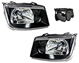 jetta mk4 headlight assembly - SPPC Black Headlights Assembly Set For VW Volkswagen Jetta MK4 - (Pair) Driver Left and Passenger Right Side Replacement Headlamp