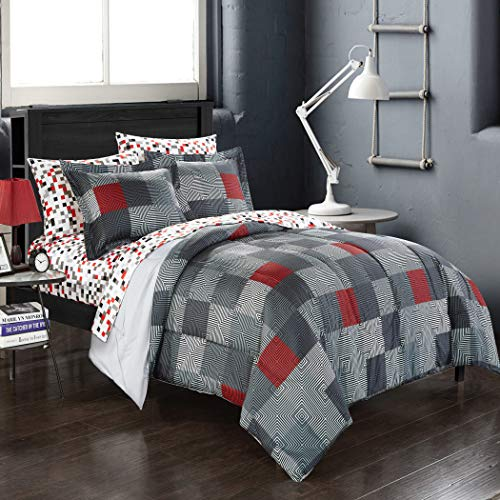 TWIN Red Black Gray Loft Living Geo Blocks Complete Bed in a Bag Bedding Set ()