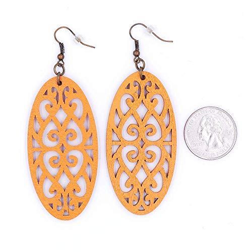 - Filigree Oval Wood Earrings Orange Black Antique Bronze Silver