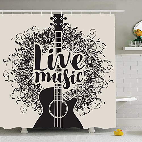Black Folk Guitar Set - Ahawoso Shower Curtain 72x78 Inches Classical Concert Acoustic Guitar Inscription Live Leisure Music Fest Folk Band Billboard Black Waterproof Polyester Fabric Set with Hooks