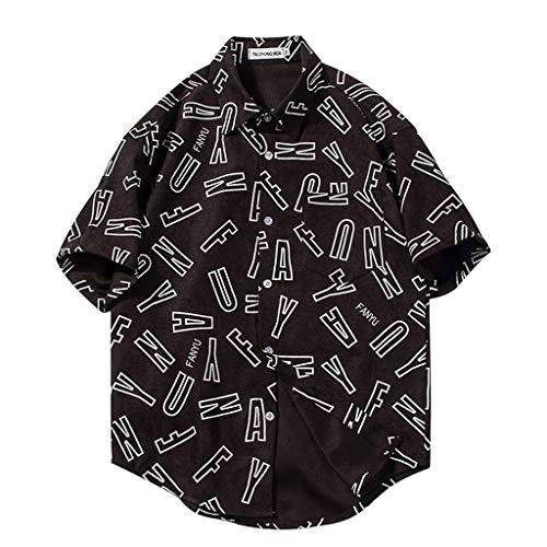 ANJUNIE Men's Slim-fit Short-Sleeve Print Shirt Rayon Tropical Hawaiian Regular Fit Blouse(1-Black,XL)
