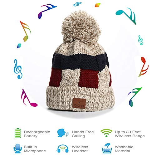 BLUEHRESY Bluetooth Beanie Hat,Bobble Knit Hat with Pom,Winter Hat Super Soft Warm for Women
