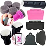 Complete 8pcs Stamping Nail Art Stampers and Scrapers Set Kit Lot Stamps Tools & Sponges for Gradient Polish Varnish
