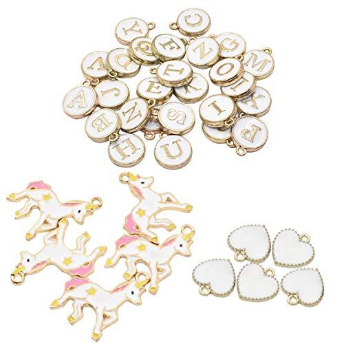 DIY Pendants for Jewelry Making, Airelon Premium Charm Pendants Earring Jewelry Sweater Chain Bracelet Band Decorative Unicorn and 26 Letter Design Colorful Mixed DIY Pendants Set (#B)