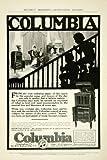 1915 Ad Columbia Record Player Graphophone Phonograph Child Silhouette Machine - Original Print Ad