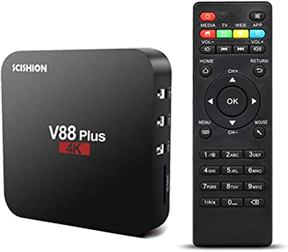 Docooler SCISHION Android 8.1 TV Box, V88 Plus Smart TV Box, con Quad Core 4 K VP9 H.265 HDR10 2 GB / 16 GB Miracast DLNA WiFi LAN HD Media Player: Amazon.es: Electrónica