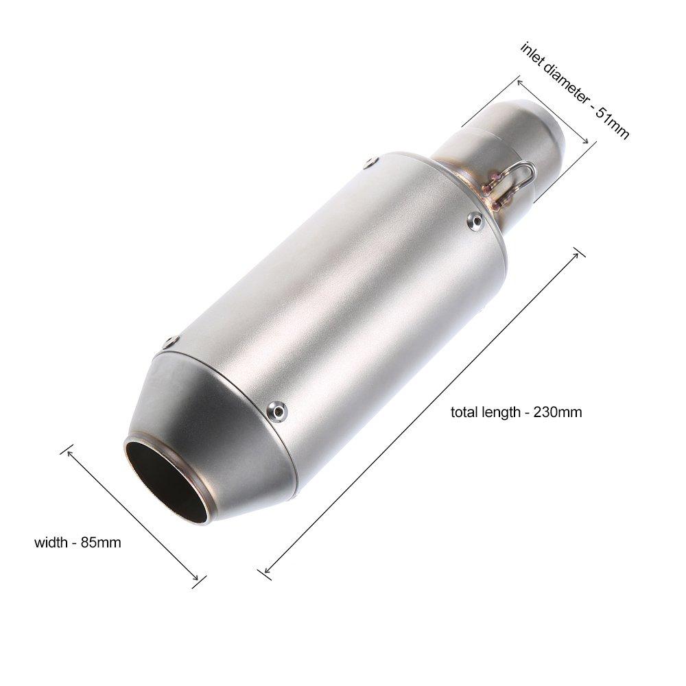 51mm Esmerilado Colocar Superficie del Tubo de Escape del Para ATV KKmoon Universal Motocicletas Silenciador