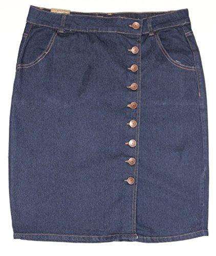 No Fuze New Womens Front Button Knee High Basic Five-Pocket Denim Skirt with Split 77230-13/14 (Denim Skirt Split)