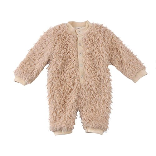 Newborn Baby Girls Warm Fur Long Sleeve Romper Jumpsuit Toddler Outfit (Coffee, 0-3 Months)