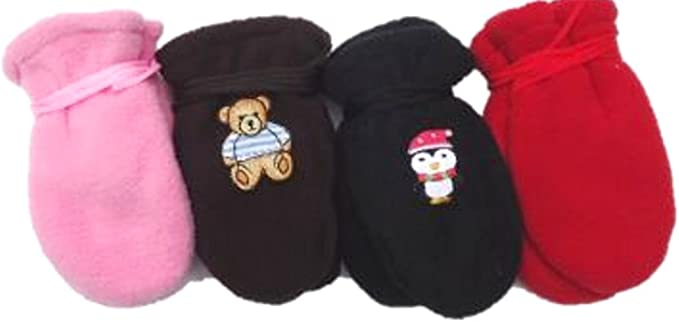 Set of Four Fleece and Microfiber Mittens for Infants Ages 0-6 Months
