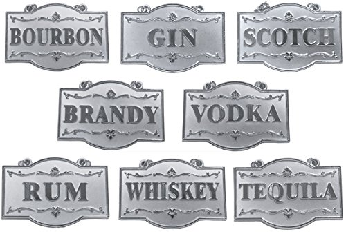 - Amlong Plus Deluxe Set of Liquor Tags for Bottles or Decanters, Silver Color, Set of 8 With Adjustable Chain Features (Bourbon, Brandy, Gin, Rum, Scotch, Tequila, Vodka, and Whiskey)