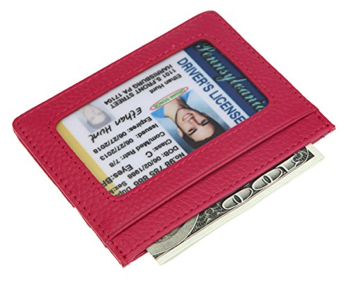 DEEZOMO RFID Blocking Genuine Leather Slim Super Thin Card Holder With ID Card Window - Rose (Womens Card Flap Holder)