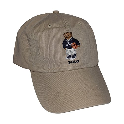Polo Ralph Lauren Mens Teddy Bear Adjustable Ball Cap Hat (One Size, Basketball) (Logo Bear Cap Fashion)
