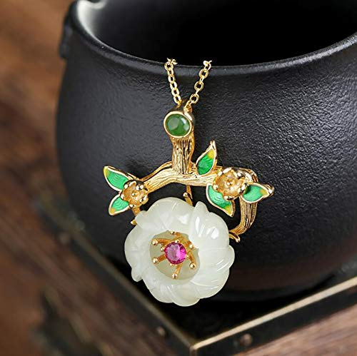 CompraJunta Pendant Necklace, Jade Feng Shui Decor and Gold Plated in Sterling Silver, Plum Blossom Pendant for Gift to Mother, Wife, Bride