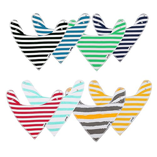 Baby Toddler Bandana Drool Teething Bibs, Unisex Gift Set for Drooling and Teething, 100% Organic Cotton, Soft and Absorbent, Solid Color, Stripes and Patterns - for Boys and Girls by ()