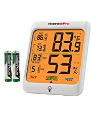 ThermoPro TP53 Hygrometer Thermometer Humidity Gauge Indicator Lab Digital Thermometer Room Temperature and Humidity Meter Monitor with Touch Backlight for Weather Station