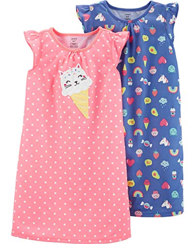 Carter's Girls 2 Pk Gown Poly 36422710 (8-10, Orange/Purple Kitty Ice Cream) ()