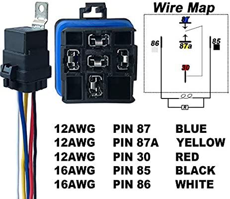 5-PIN SPDT Bosch Style Automotive Relay IRHAPSODY 1 PACK 40//30 AMP 24 V DC Waterproof Relay and Harness Heavy Duty 12 AWG Wiring Harness