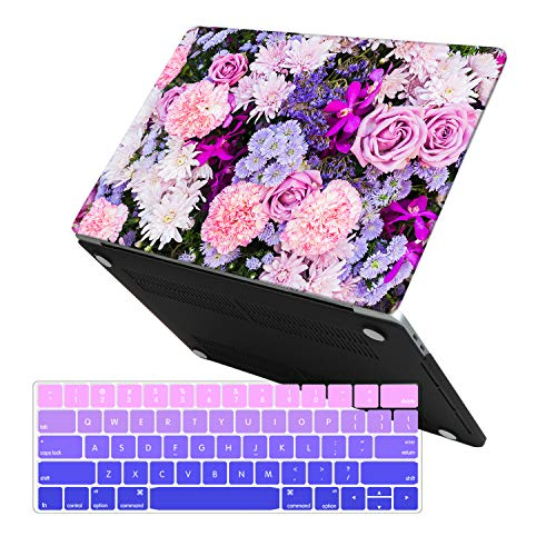MacBook Pro 13 Case 2018 2017 2016 Release A1989/A1706/A1708, iCasso Hard Case Shell Cover and Keyboard Cover For Apple Newest Macbook Pro 13 Inch with/without Touch Bar and Touch ID-Purple Flower