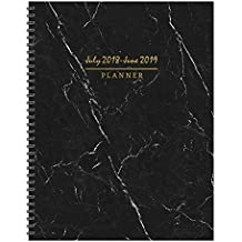 "TF Publishing 19-9741A July 2018 - June 2019 Marble Large Weekly Monthly Planner, 9 x 11"", Black, White & Gold"