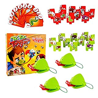 Catch Bug Tic Tac Tongue Desktop Board Game, Joint Take Card-Eat Pest Car, Quick Tongue Out Lizard Card Toy Family Games, Gift for Kids Boys Girls Over 3 Years Olds (4pcs)