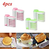 Fullwei Cake Slicing Leveler - 4 Pcs Even Cake Slicing Leveler Bread Cutter Durable Baking Kitchen Tools (Green and Pink)
