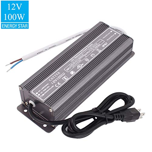 CATIYA 12V Constant Voltage 100W LED Driver Transformer, Outdoor Low Voltage Waterproof Power Supply Adapter for Led Landscape Lighting (Power Tube Adaptor)