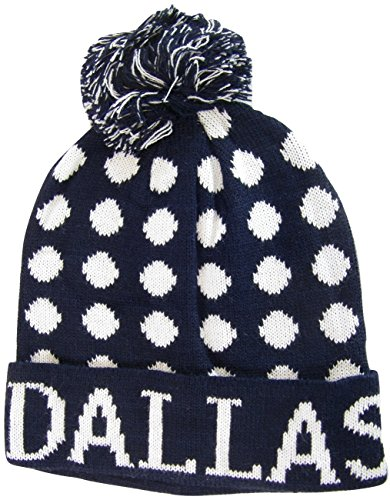 [Dallas Adult Size Leopard Spots Pattern Winter Knit Pom Beanie Hats (Navy/White)] (Leopard Cowboy Hat)