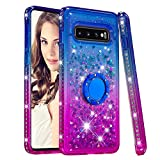 Cfrau Compatible with Samsung Galaxy S10 with Black Stylus,Luxury Liquid Glitter Ring Kickstand Shockproof Quicksand Bling Cute Diamond Girls Women Cover for Samsung Galaxy S10,Blue + Purple