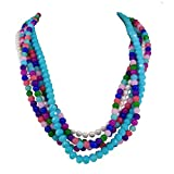 "Gem Stone King 18"" 5-Row 6mm Simulated Shell Pearls and Multicolorand Glass Beads Necklace"