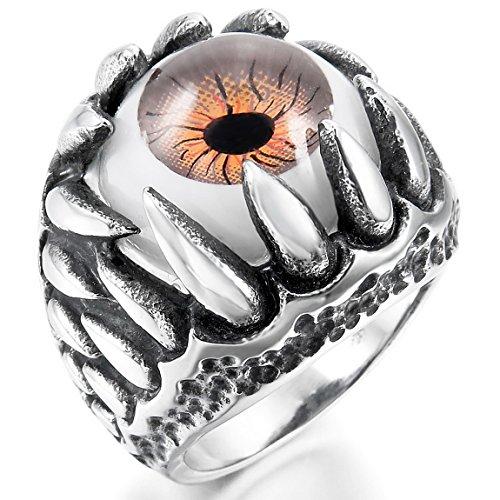 (INBLUE Men's Stainless Steel Ring Silver Tone Black Brown White Skull Dragon Claw Evil Devil Eye Size15)