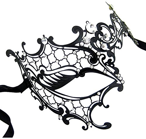 [Kayso Inc Signature Phantom of the Opera Venetian Laser Cut Masquerade Mask, Reverse Black w/ Clear Stones] (Phantom Of The Opera Costumes For Women)
