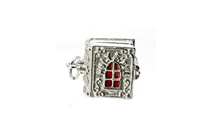 STERLING SILVER OPENING ENAMELLED HOLY BIBLE CHARM