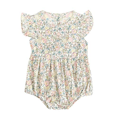 Girls Floral Print Romper Tie Waist Ruffles Button Jumpsuit Outfits Clothes (12-18M, Green) ()