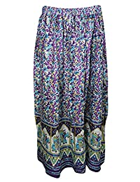 Mogul Womans Maxi Skirt Floral Print Flirty Bohemian Gypsy Festive Skirts